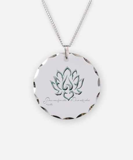 Buddha Lotus Flower Peace quote Necklace