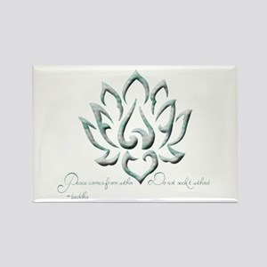 Buddha Lotus Flower Peace quote Rectangle Magnet