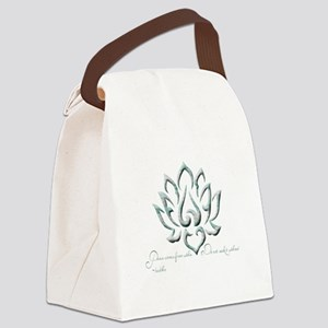 Buddha Lotus Flower Peace quote Canvas Lunch Bag