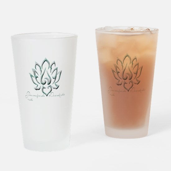 Buddha Lotus Flower Peace quote Drinking Glass