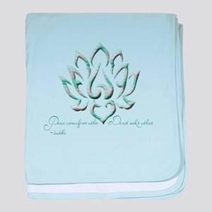 Buddha Lotus Flower Peace quote baby blanket