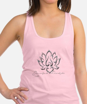 Buddha Lotus Flower Peace quote Racerback Tank Top