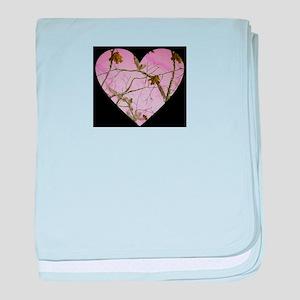 pink camo heart baby blanket