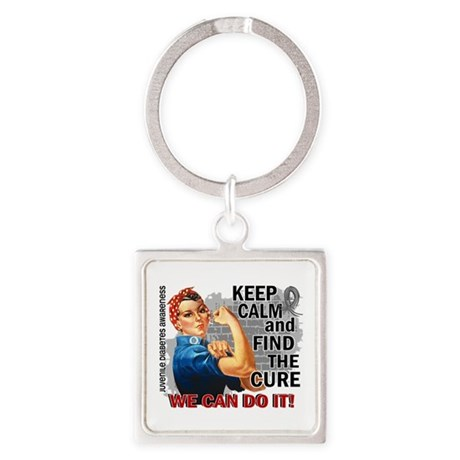 Rosie Keep Calm J Diabetes Square Keychain
