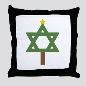 Christm()ukkah Tree Throw Pillow
