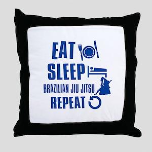 Eat sleep Brazilian Jiu Jitsu Throw Pillow