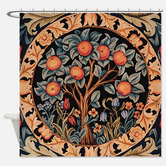 Orange Tree of Life Shower Curtain