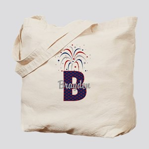 4th of July Personalized initial B Tote Bag