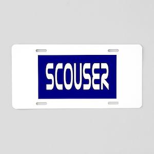 Scouser White on Blue Aluminum License Plate