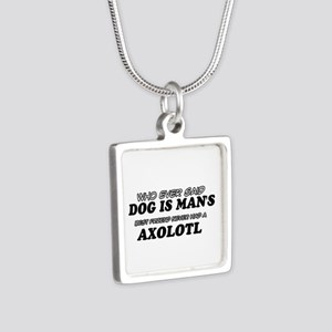 Axolotl pet designs Silver Square Necklace
