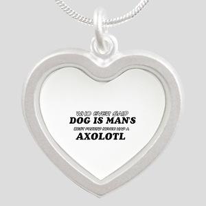 Axolotl pet designs Silver Heart Necklace