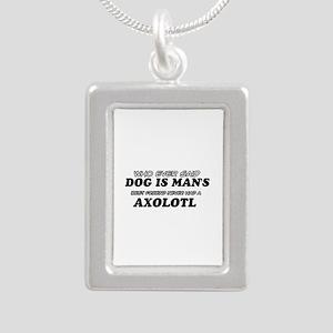 Axolotl pet designs Silver Portrait Necklace