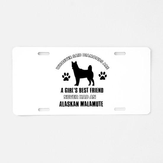 Alaskan Malamute Mommy designs Aluminum License Pl