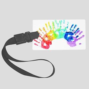 Rainbow Hands Large Luggage Tag