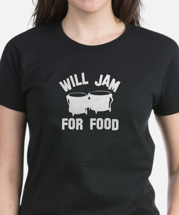 Will jam or play the Bongo for food Women's Dark T