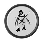 Humboldt Penguin smiling Large Wall Clock