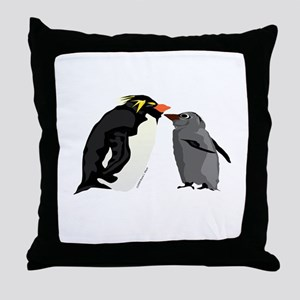 Rockhopper Penguin Mom and Baby Chick Throw Pillow