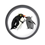 Rockhopper Penguin Mom and Baby Chick Wall Clock