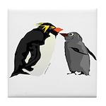 Rockhopper Penguin Mom and Baby Chick Tile Coaster