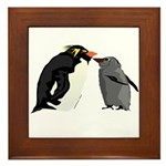 Rockhopper Penguin Mom and Baby Chick Framed Tile