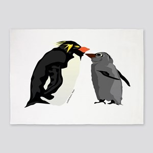 Rockhopper Penguin Mom and Baby Chick 5'x7'Area Ru