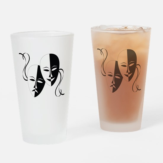 Theater Masks Drinking Glass