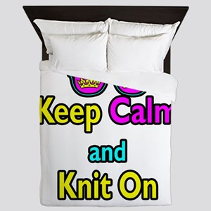 Crown Sunglasses Keep Calm And Knit On Queen Duvet