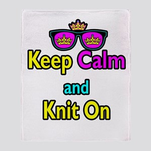 Crown Sunglasses Keep Calm And Knit On Throw Blank