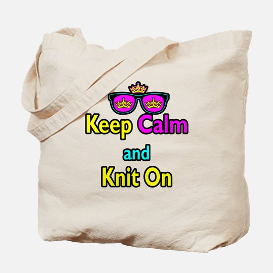 Crown Sunglasses Keep Calm And Knit On Tote Bag