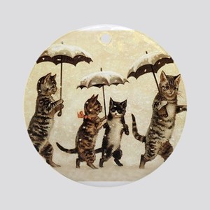 Cats, Vintage Painting Ornament (Round)