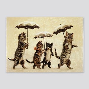 Cats, Vintage Painting 5'x7'Area Rug
