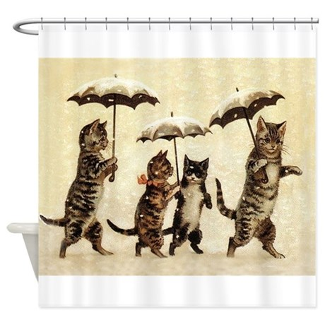 Cats Vintage Painting Shower Curtain By Vintagevivian