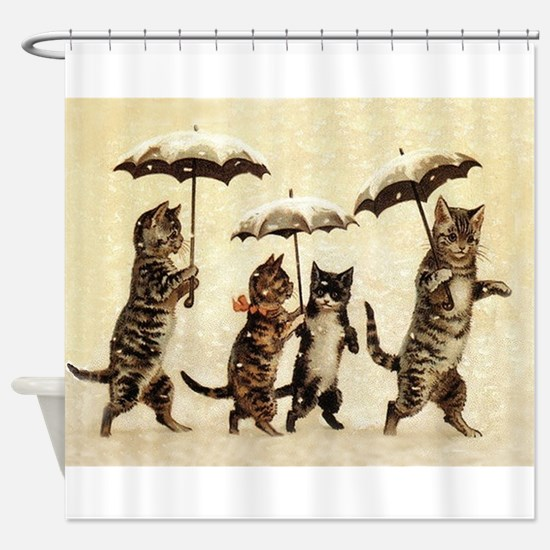 Cats, Vintage Painting Shower Curtain
