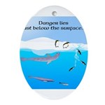 Leopard Seal Penguins and Ice Ornament (Oval)