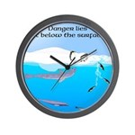 Leopard Seal Penguins and Ice Wall Clock