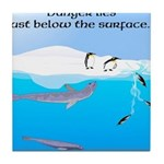 Leopard Seal Penguins and Ice Tile Coaster