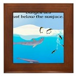 Leopard Seal Penguins and Ice Framed Tile