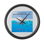 Leopard Seal Penguins and Ice Large Wall Clock