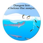 Leopard Seal Penguins and Ice Round Car Magnet