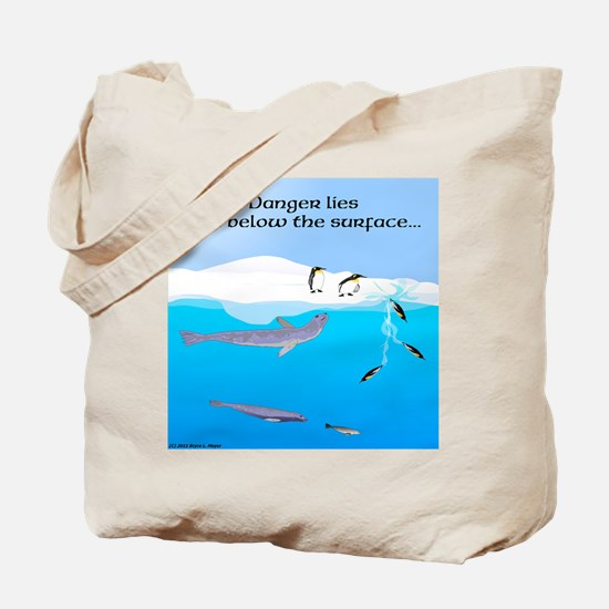 Leopard Seal Penguins and Ice Tote Bag
