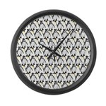 Penguin Pattern 1 Large Wall Clock