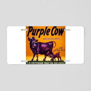 Purple cow apples Vintage sign Aluminum License Pl