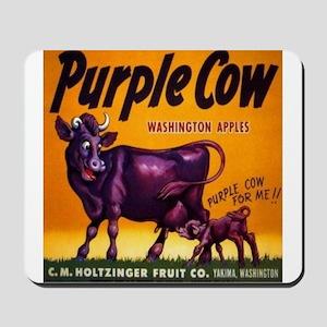 Purple cow apples Vintage sign Mousepad