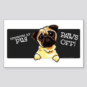 Pug Protected PAWS OFF Sticker