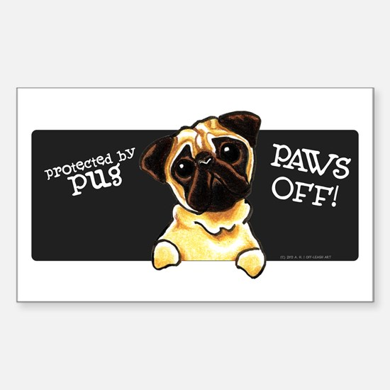 Pug Protected PAWS OFF Decal