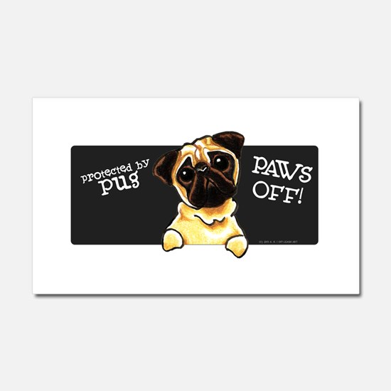 Pug Protected PAWS OFF Car Magnet 20 x 12