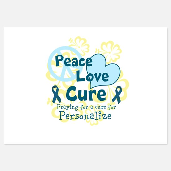 Teal Peace Love Cure Flat Cards