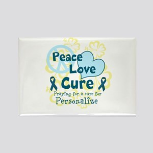 Teal Peace Love Cure Rectangle Magnet