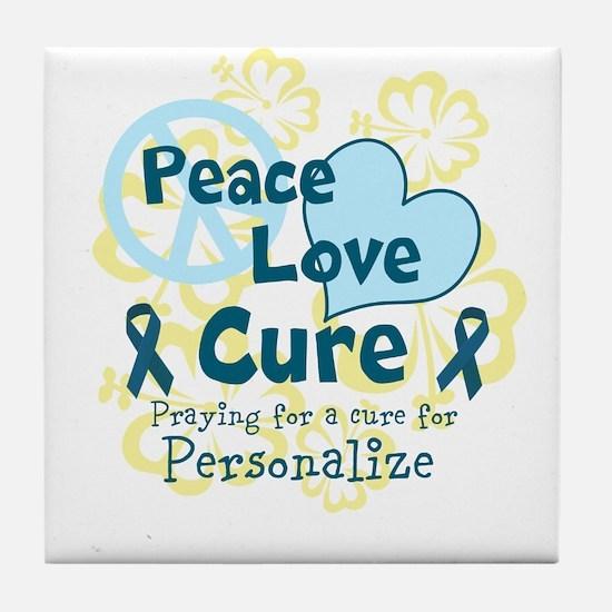 Teal Peace Love Cure Tile Coaster