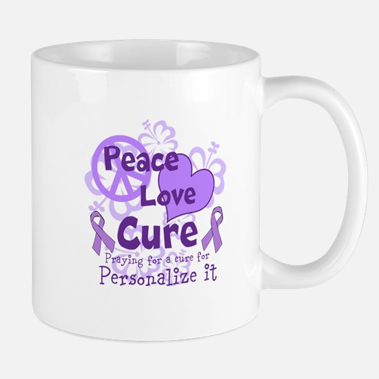 Purple Peace Love Cure Mug